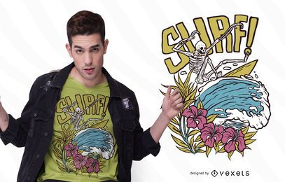 Diseño de camiseta de esqueleto de surf