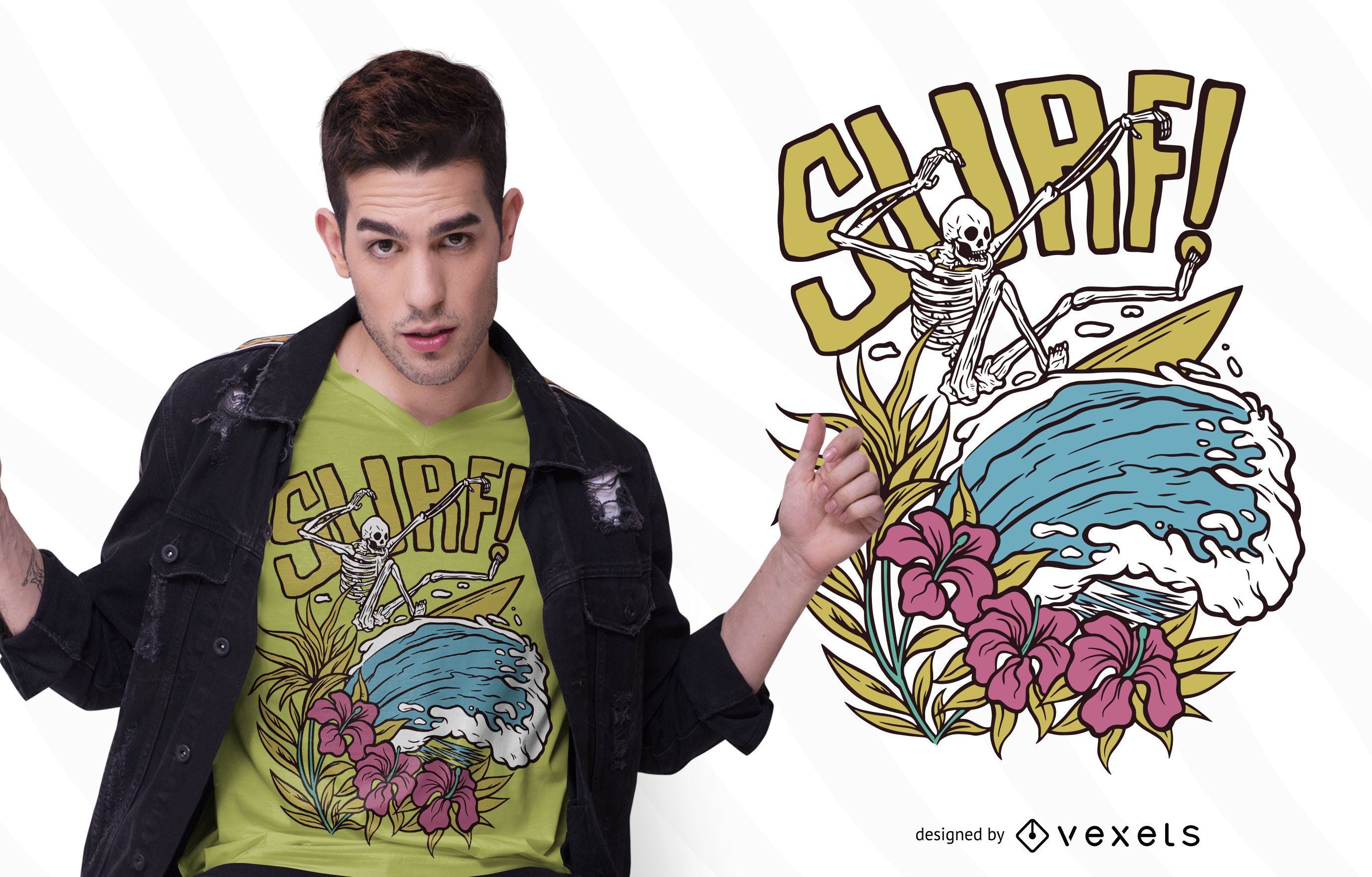 Diseño de camiseta Surf Skeleton