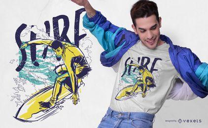 Design de t-shirt de cor Grunge de surf
