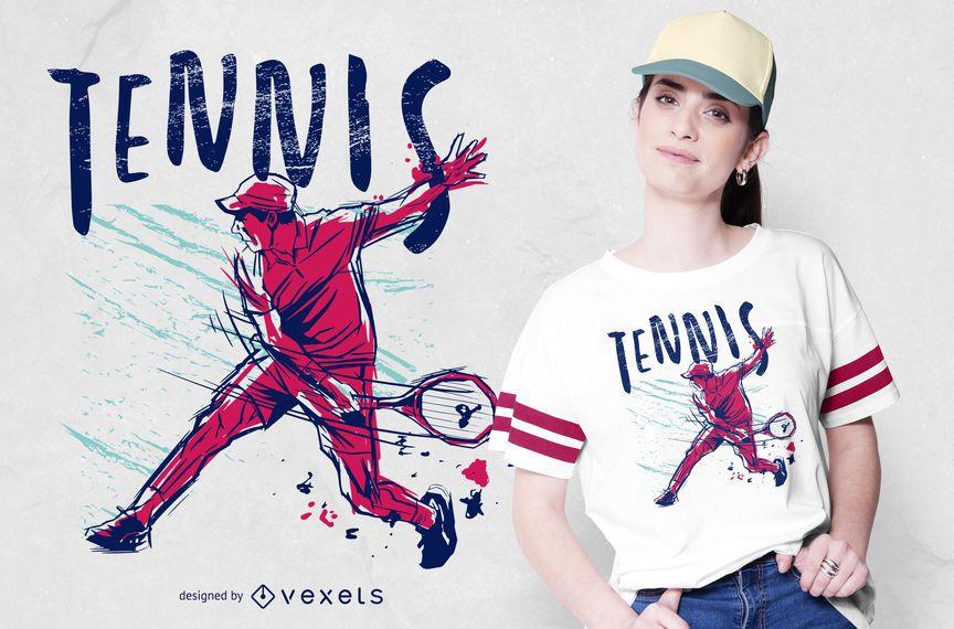 Diseño de camiseta de color Grunge de tenis