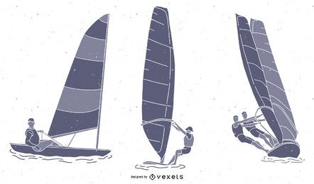Wind Segeln Sport Silhouette Pack