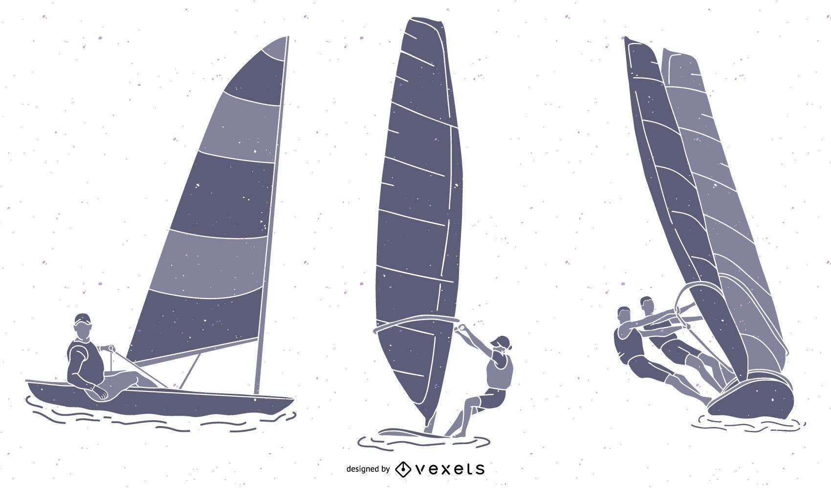 Paquete de silueta de deportes de vela de viento