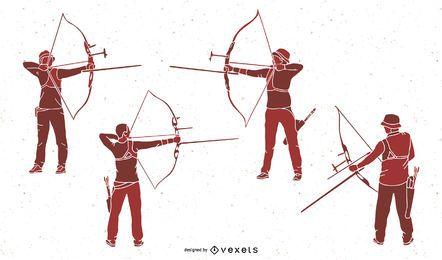 Conjunto de silhueta de pessoas de tiro com arco