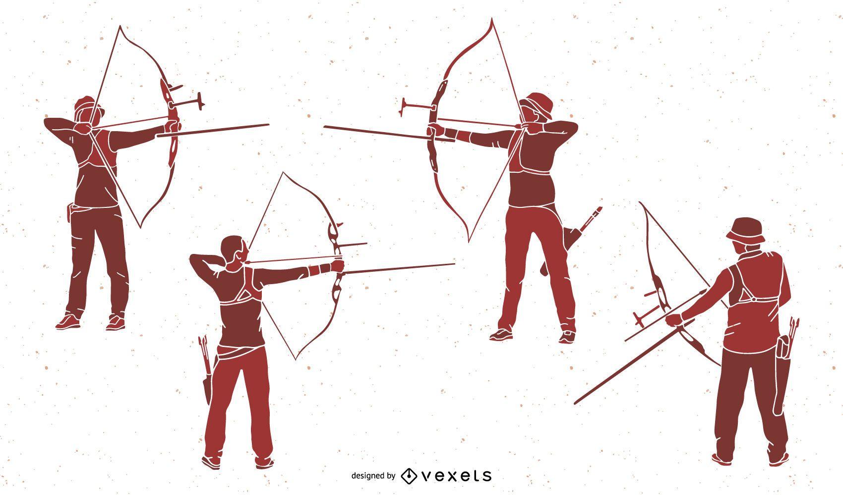 Conjunto de silhuetas de pessoas com arco e flecha