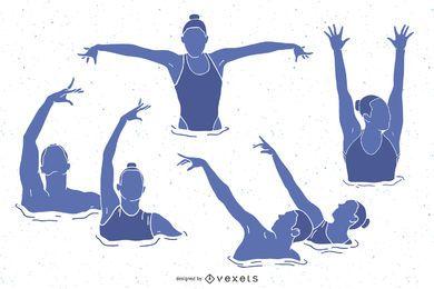 Pacote de silhuetas de pessoas de natação sincronizada