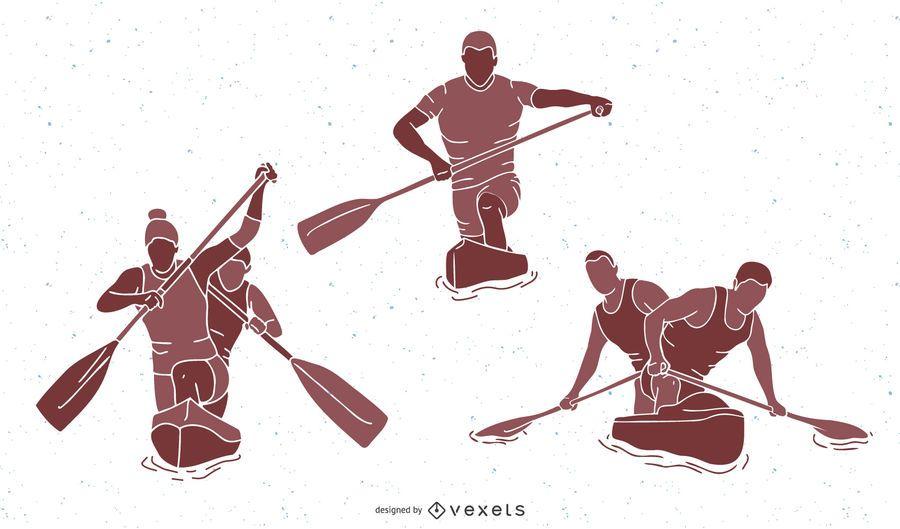 Paquete de silueta de gente de deportes de canoa