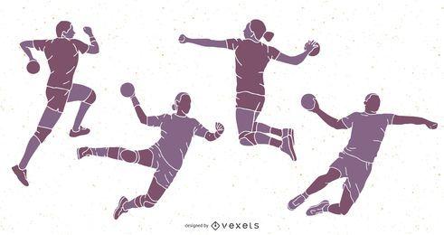 Pacote de silhuetas de handebol esportivos