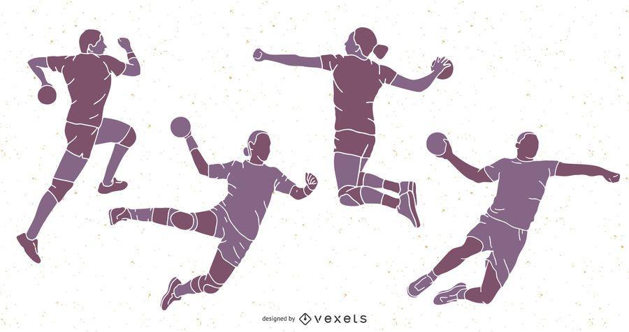 Paquete de silueta de personas de balonmano