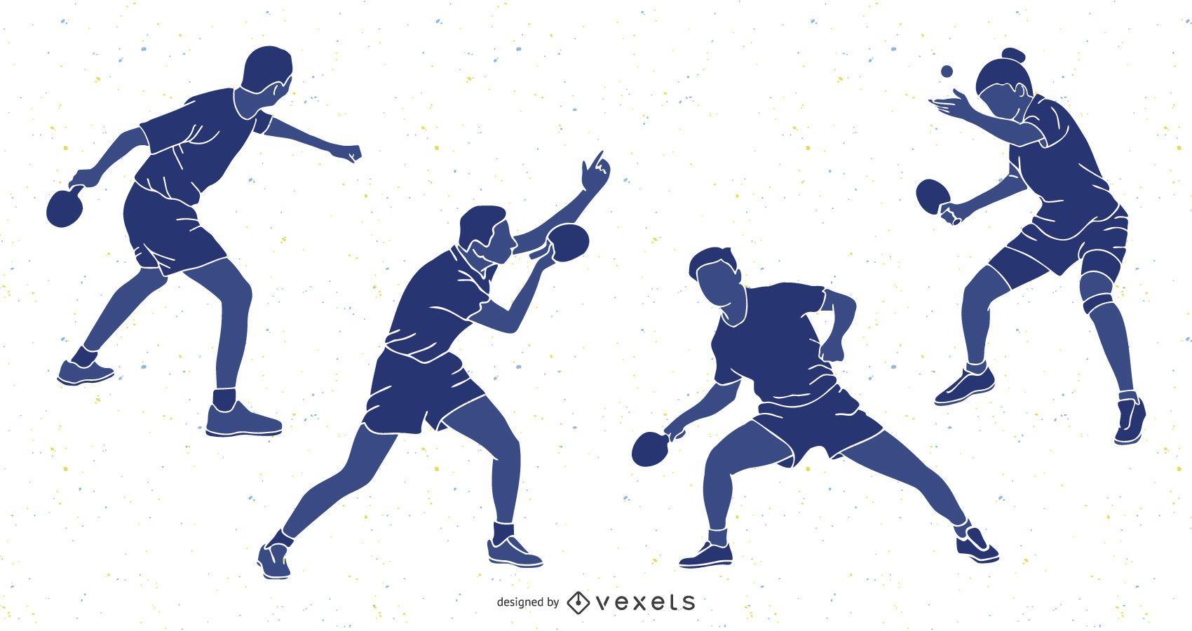 Paquete de silueta de personas de tenis de mesa