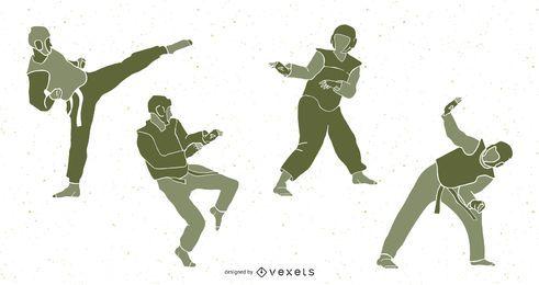 Pacote de silhuetas de pessoas de taekwondo