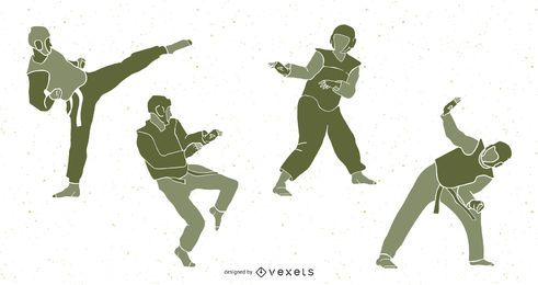 Taekwondo People Silhouette Pack