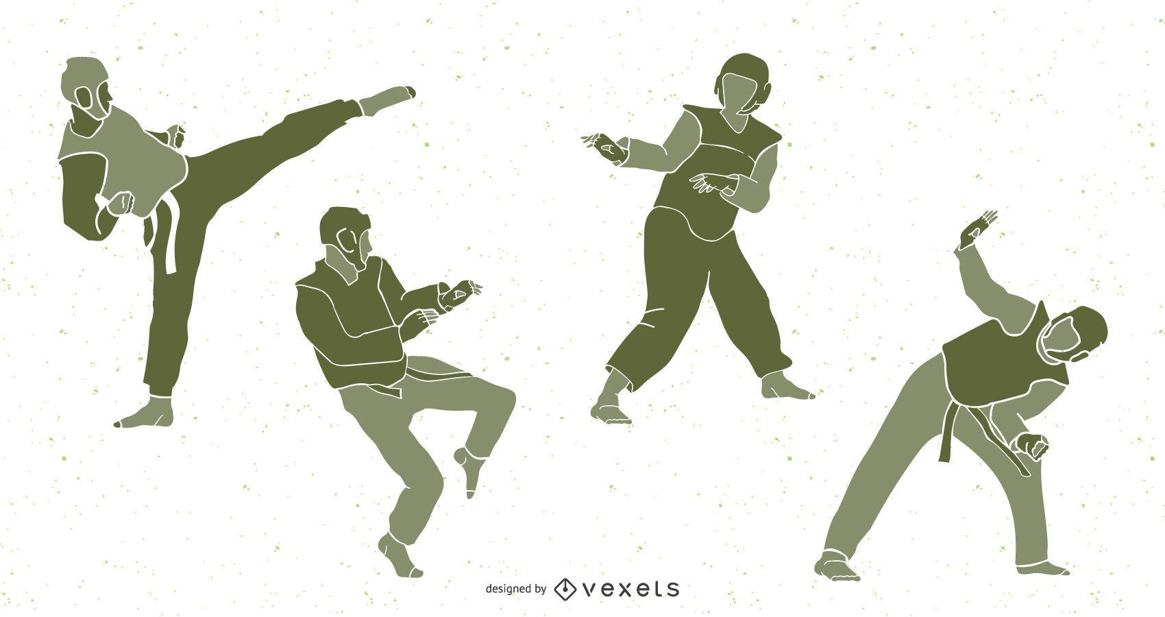 Paquete de silueta de personas de Taekwondo