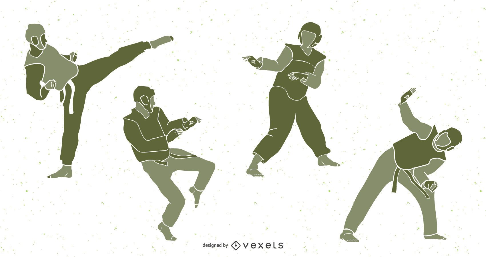 Taekwondo People Silhouette Pack