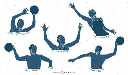 Pacote de silhueta de pessoas de esportes de pólo aquático