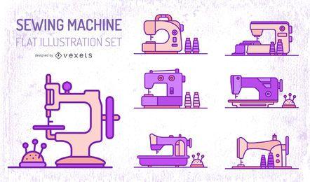 Conjunto de máquinas de costura plana