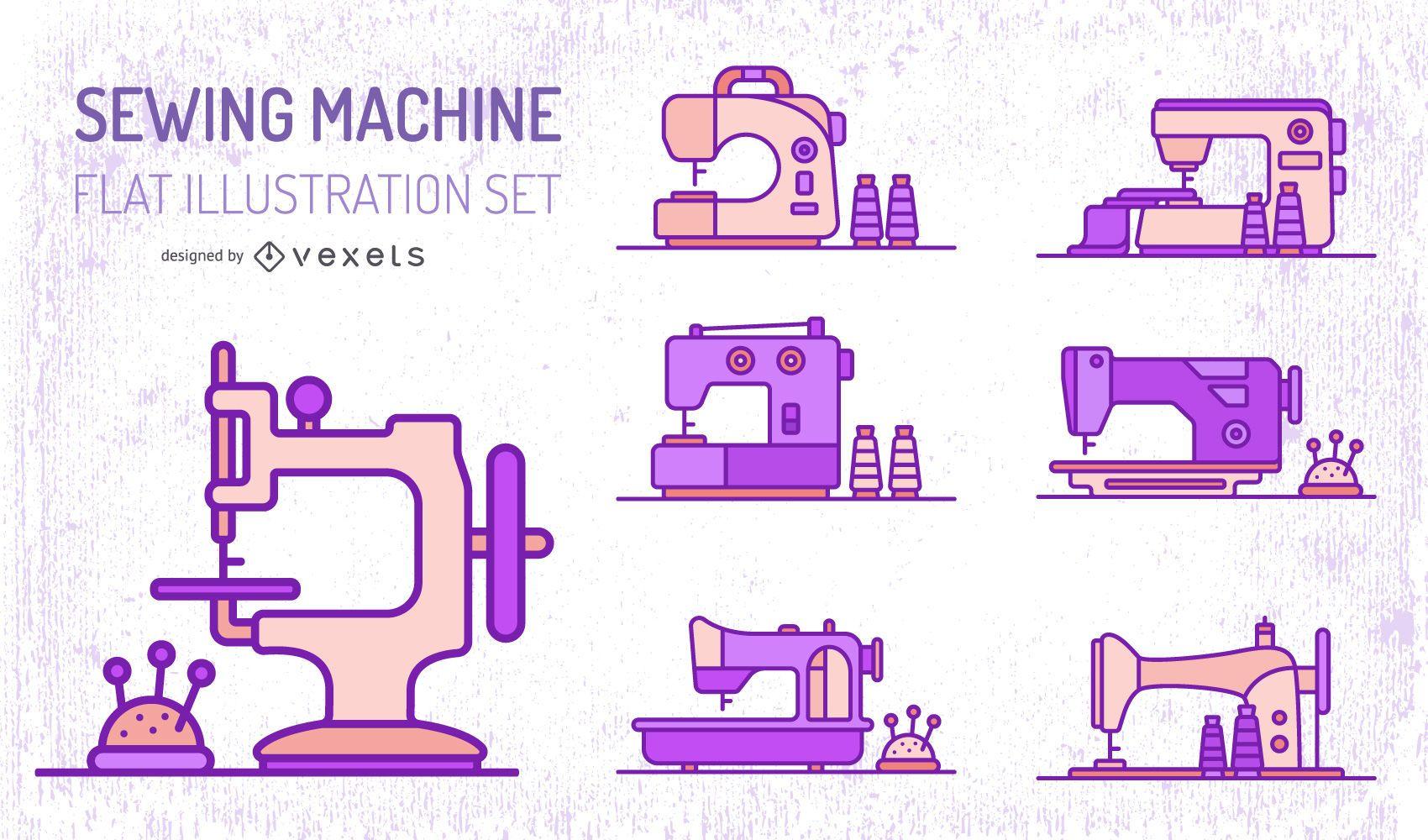 Conjunto plano de máquinas de coser