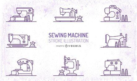 Conjunto de traçado de máquinas de costura