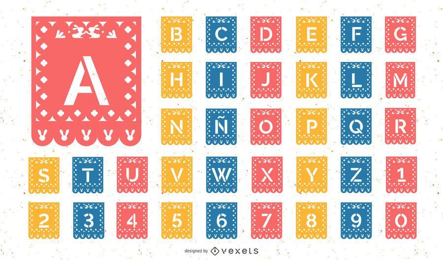Conjunto de alfabeto de papel picado de Pascua