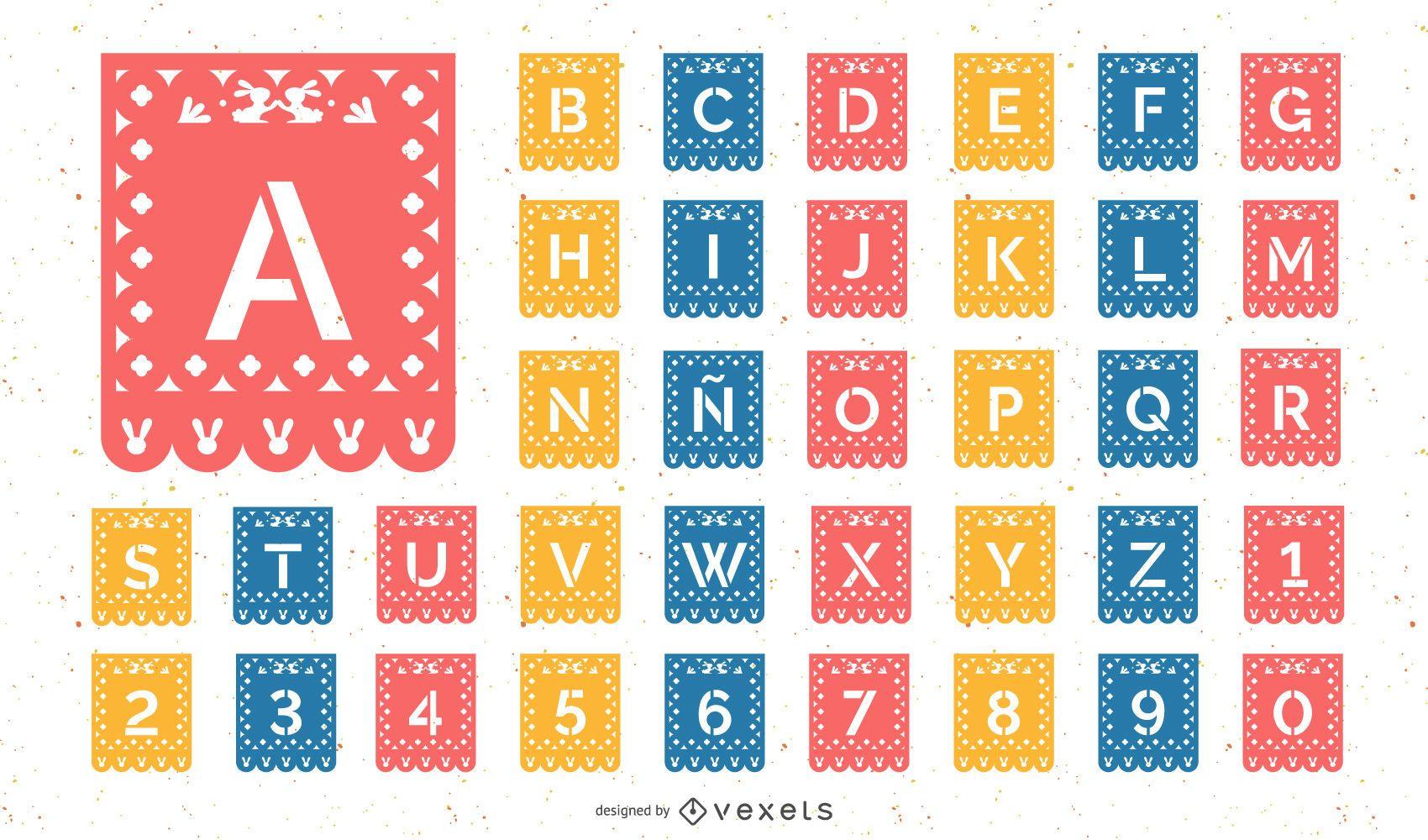 Conjunto de alfabeto papel picado de Páscoa
