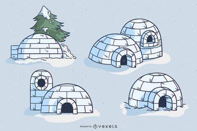 Paquete de diseño de ilustración de iglú