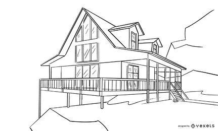 Esboço do projeto da casa arquitetônica