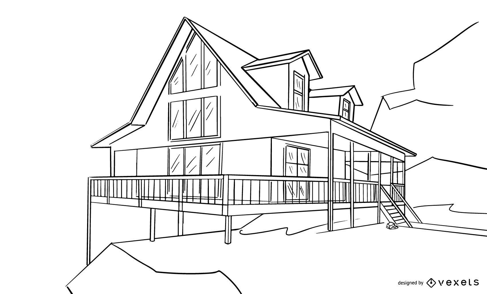 Boceto de diseño de casa arquitectónica