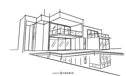 Ilustración de boceto de diseño de arquitectura