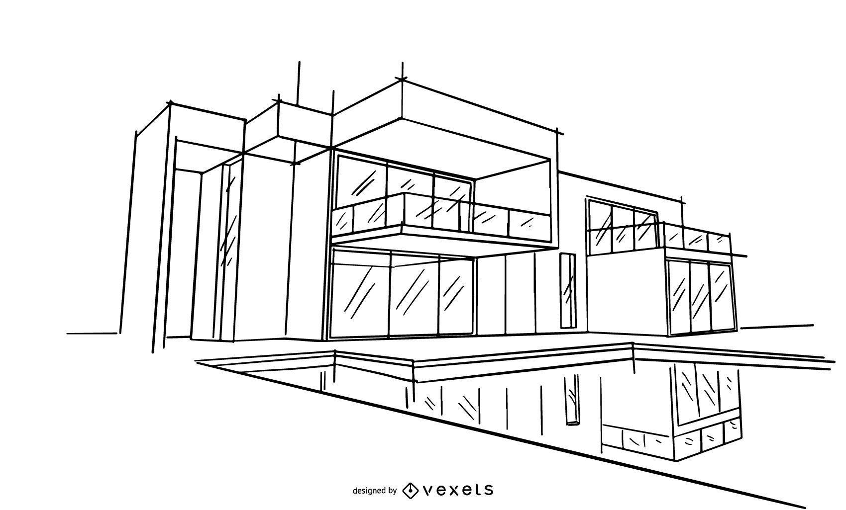 Ilustração do esboço do projeto da arquitetura