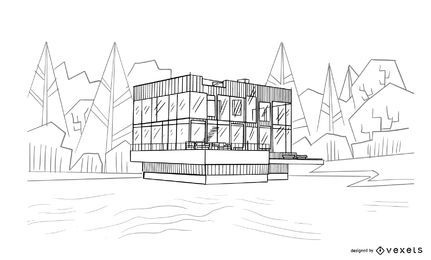 Projeto de desenho de casa de arquitetura