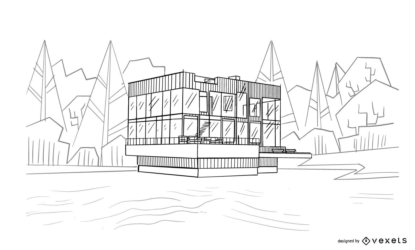 Architecture House Sketch Design