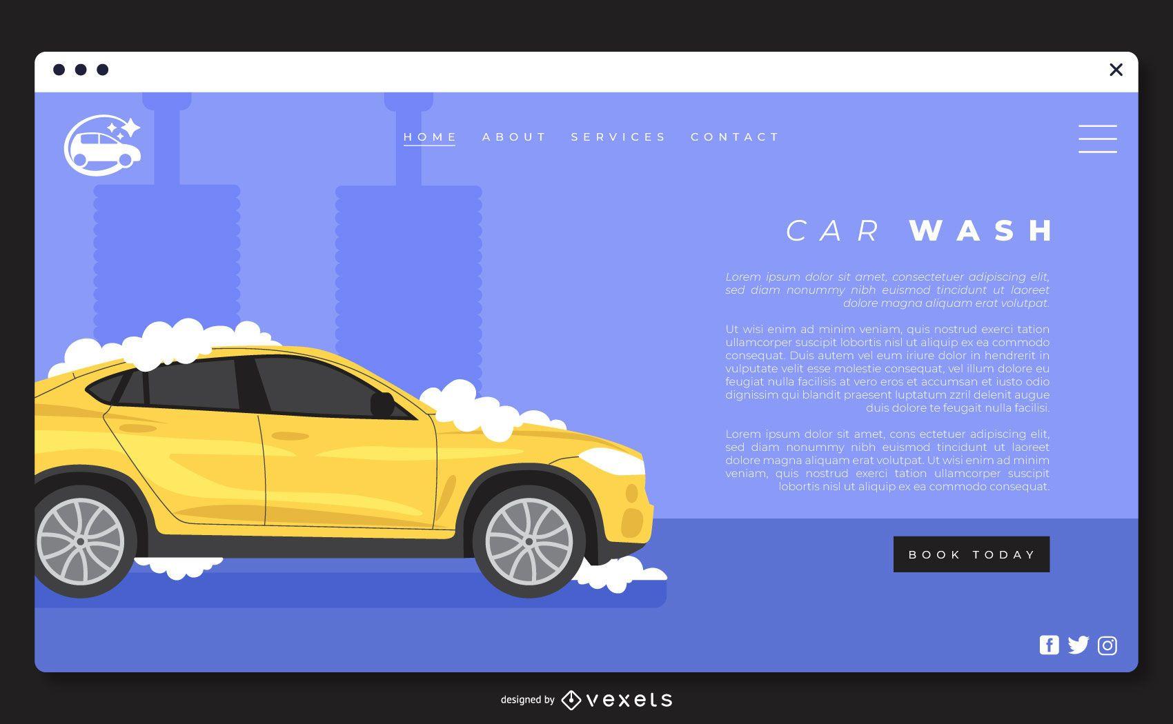 Plantilla de página de destino de lavado de autos