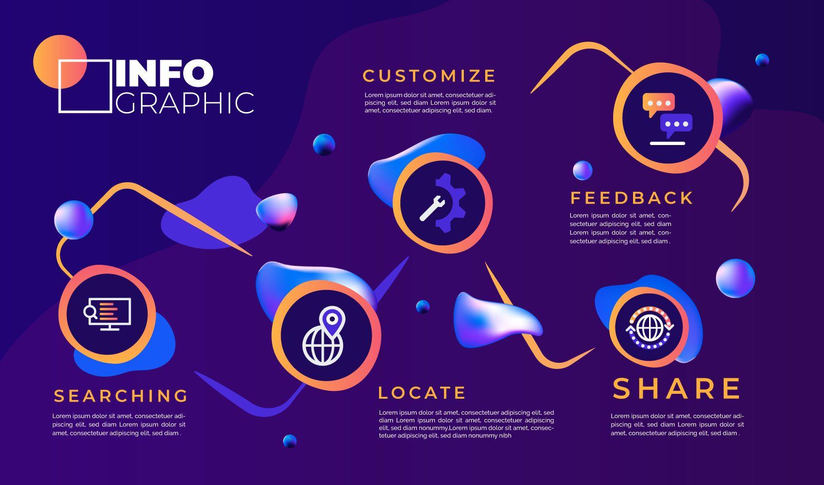 Plantilla de infografía abstracta