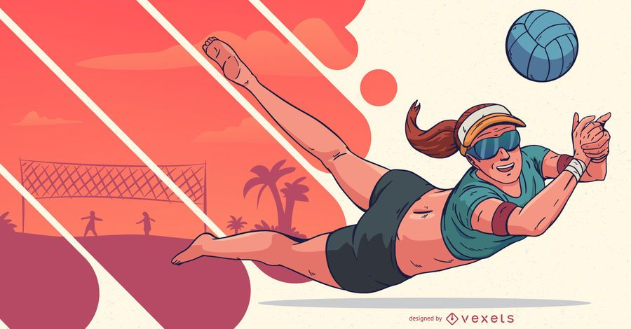 Volleyball Player Sports People Illustration