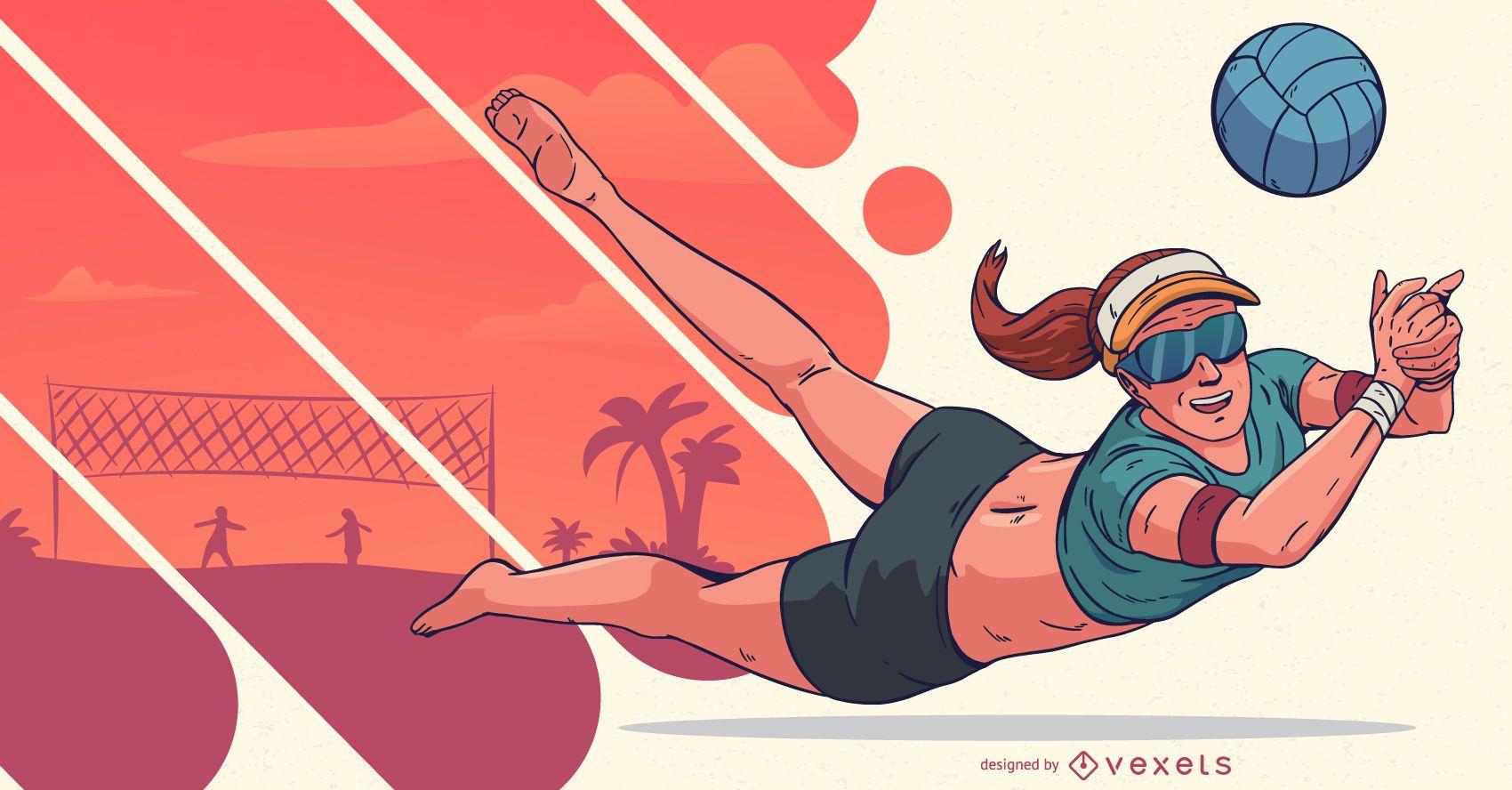 Ilustración de gente de deportes de jugador de voleibol