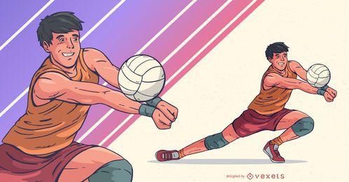Ilustração de esportes para jogador de voleibol masculino