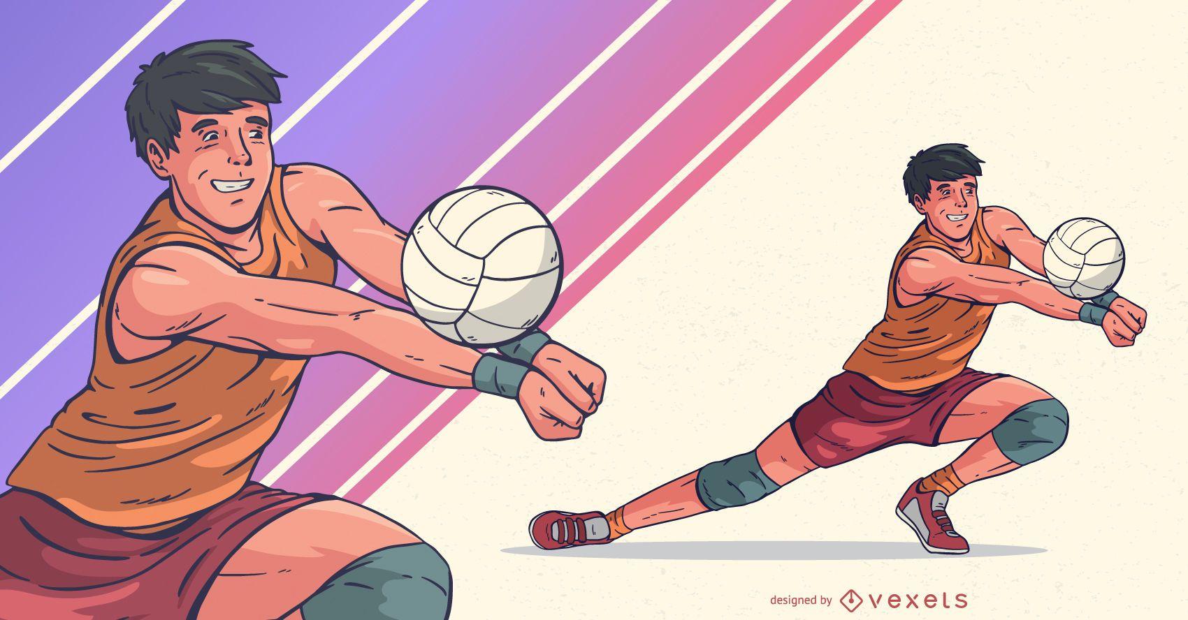 Ilustración de deportes de jugador de voleibol masculino