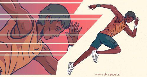 Sprinter Runner People Deportes Ilustración