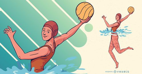Pólo Aquático Jogador Feminino Ilustração Esportes