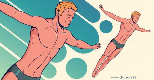 Ilustración de deportes de buzo masculino olímpico