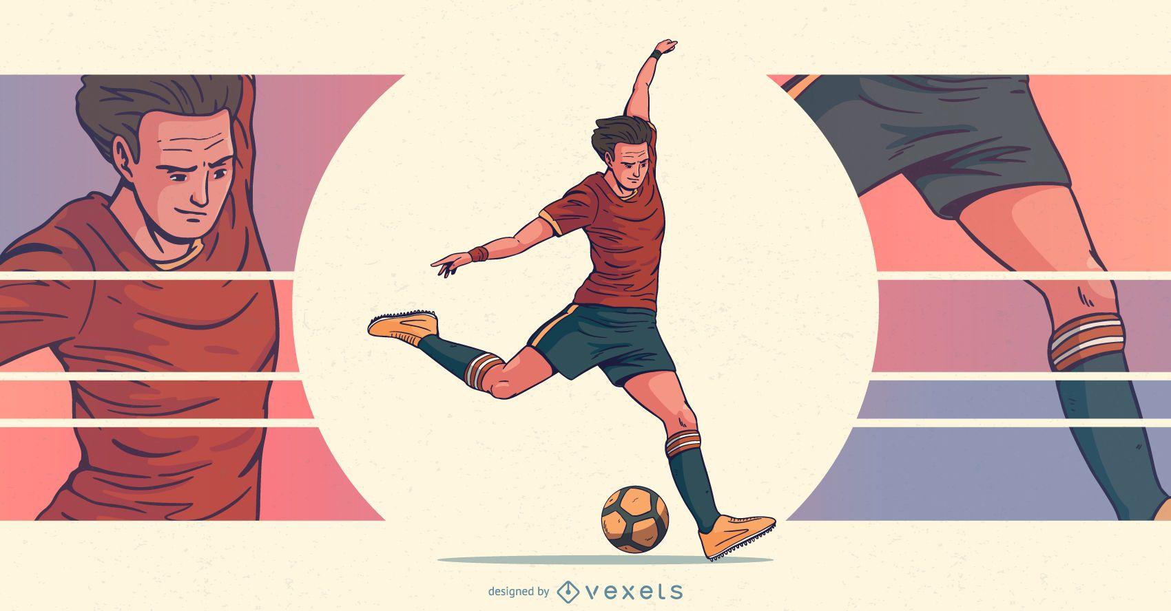 Ilustração de esportes para jogadores de futebol