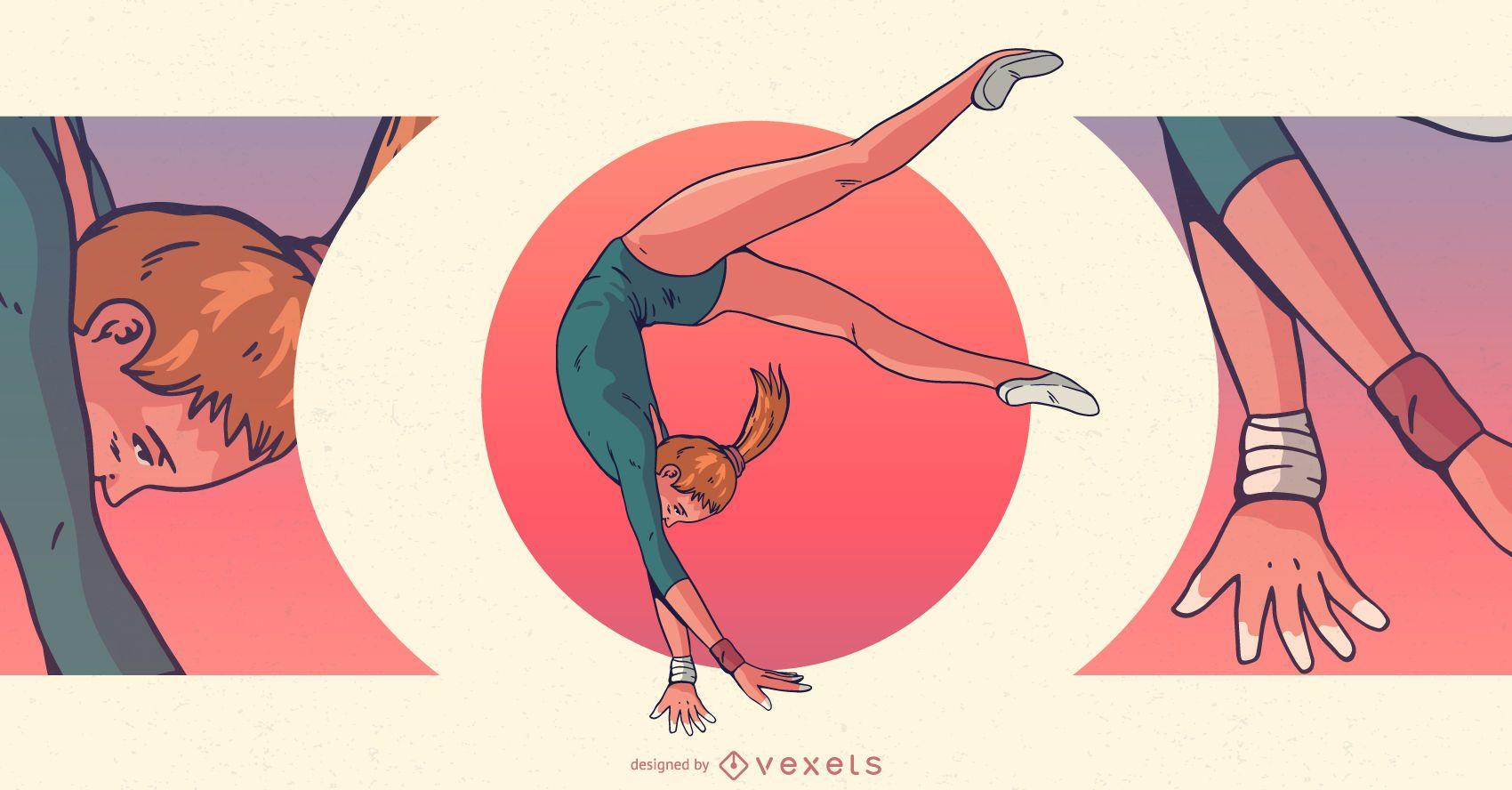 Ilustração de esportes femininos de ginasta