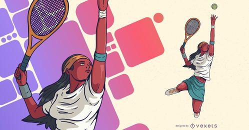 Ilustración de deportes de jugador de tenis femenino