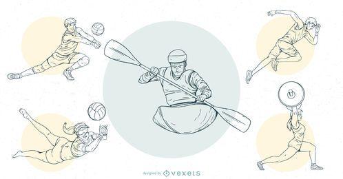 Conjunto de Design de traçado de pessoas de esportes olímpicos