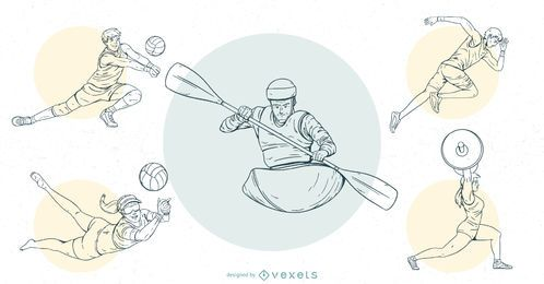 Olympic Sports People Stroke Design Set