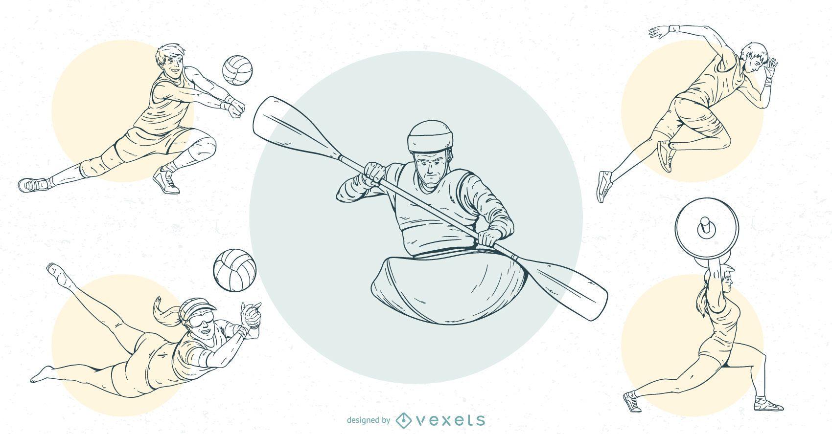 Conjunto de diseño de trazo de personas de deportes olímpicos