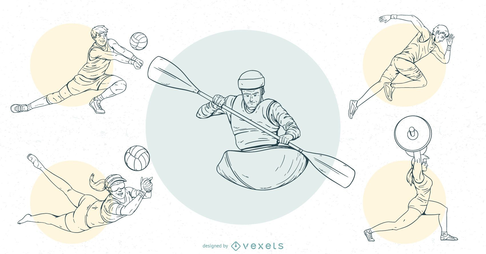Olympic Sports People Stroke Design Set