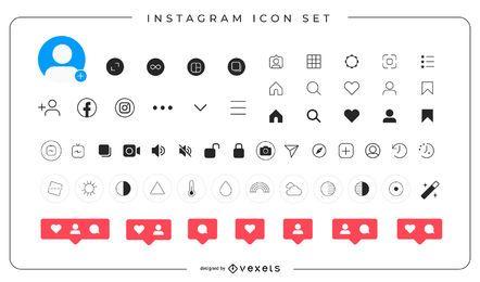 Pacote completo de ícones do Instagram