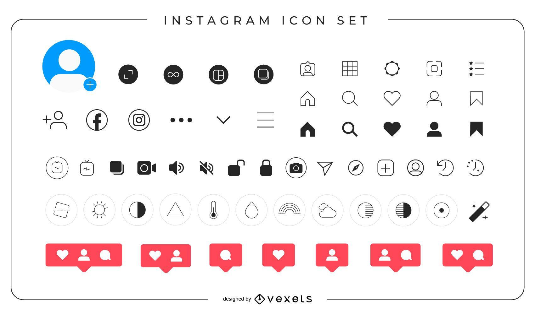 Paquete completo de iconos de Instagram