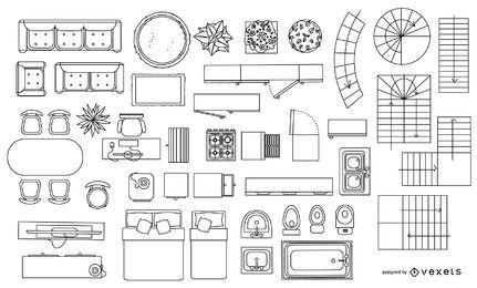 Colección de trazos de elementos de planos de arquitectura