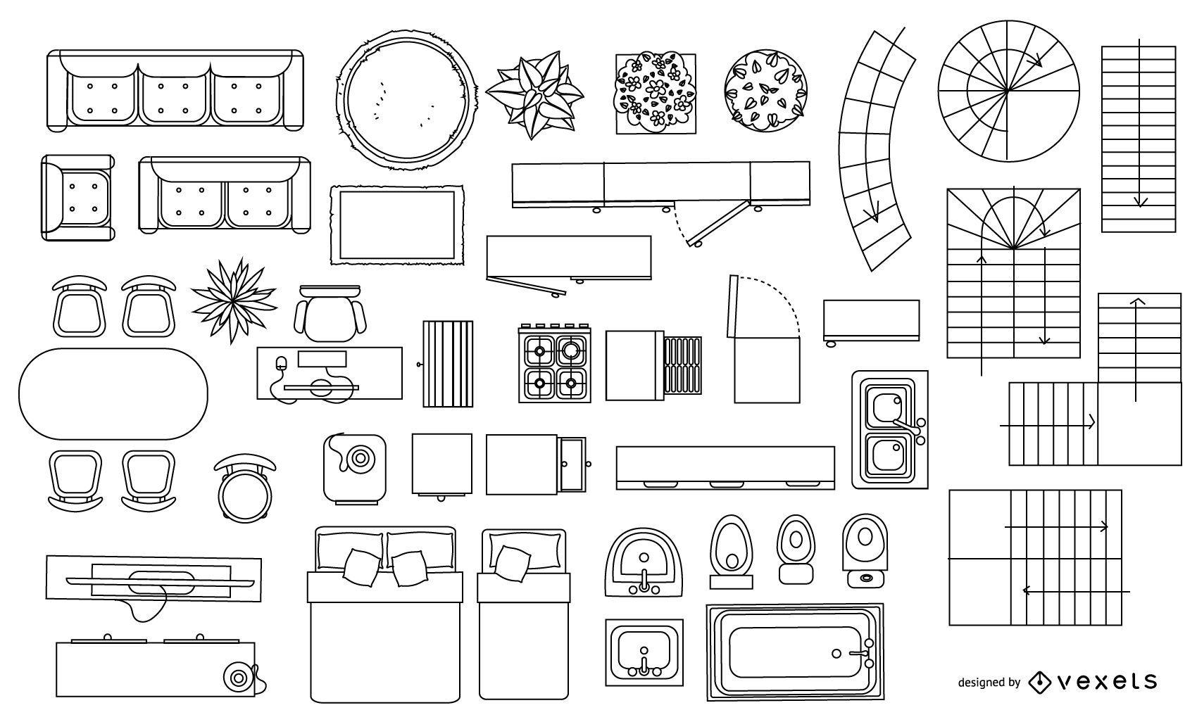 Architecture Blueprint Element Stroke Collection